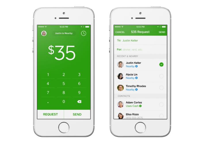 Square Cash - stačí zadat částku a vybrat příslušný kontakt.