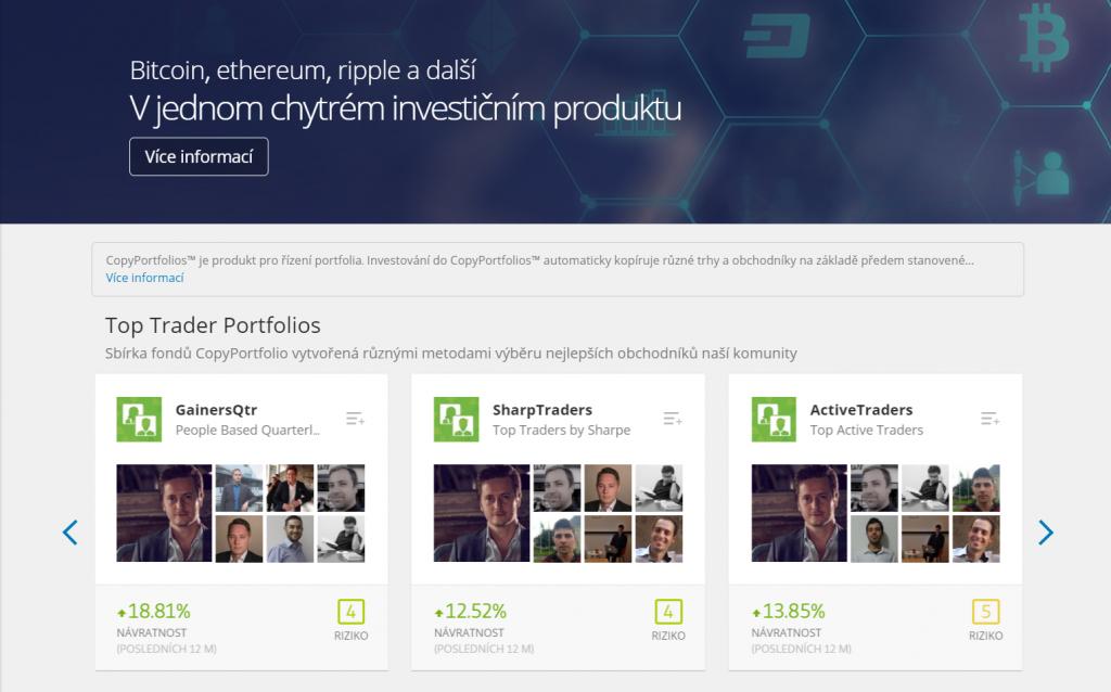 eToro Copy Portfolio nejlepších investorů